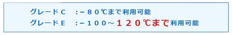 グレードC :-80℃まで利用可能 グレードE :-100~120℃まで利用可能
